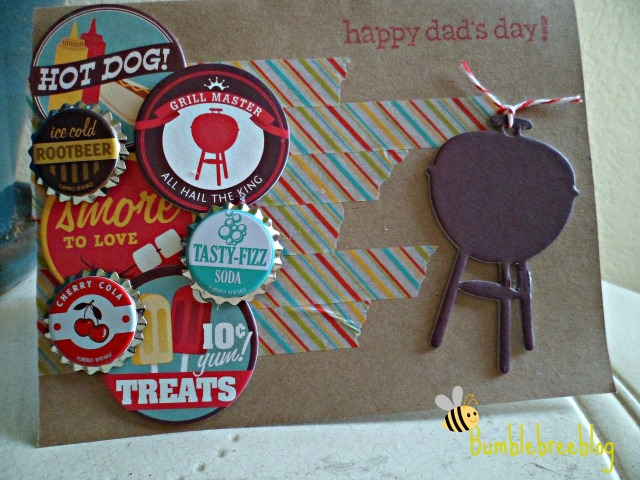 BBQ themed Happy Dad's Day card from bumblebreeblog.  Perfect for Father's Day!