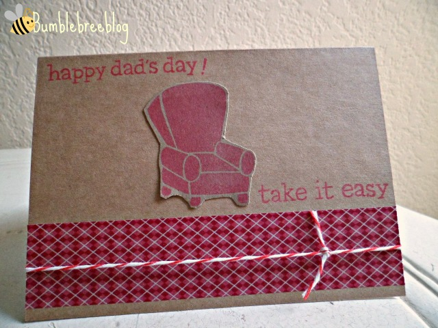 Happy Dad's Day! Clean and simple red couch card from bumblebreeblog.